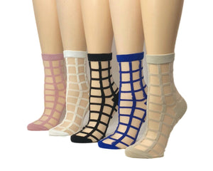 Square Patterned Sheer Socks (Pack of 5 Pairs) - Global Trendz Fashion®