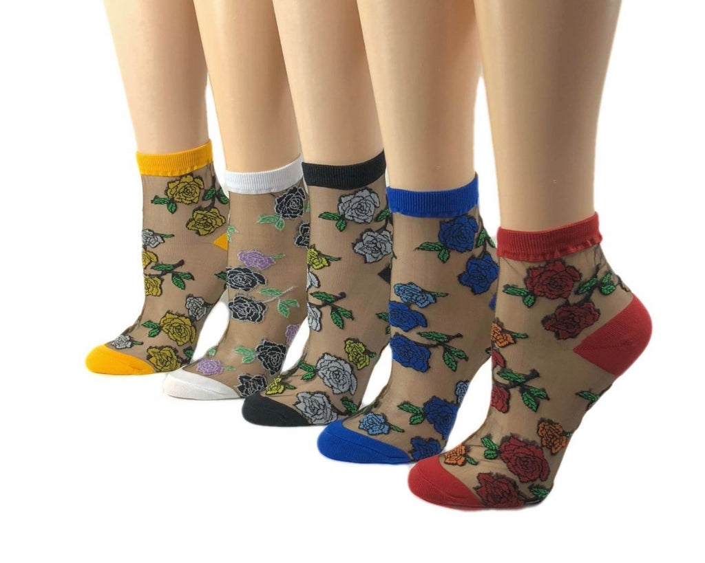 Stunning Flowers Sheer Socks (Pack of 5 Pairs) - Global Trendz Fashion®