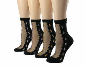 Double-Stripped Flowers Sheer Socks (Pack of 4 Pairs) - Global Trendz Fashion®