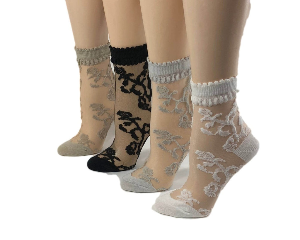 Lovely Flowers Patterned Sheer Socks (Pack of 4 Pairs)-Global Trendz Fashion®