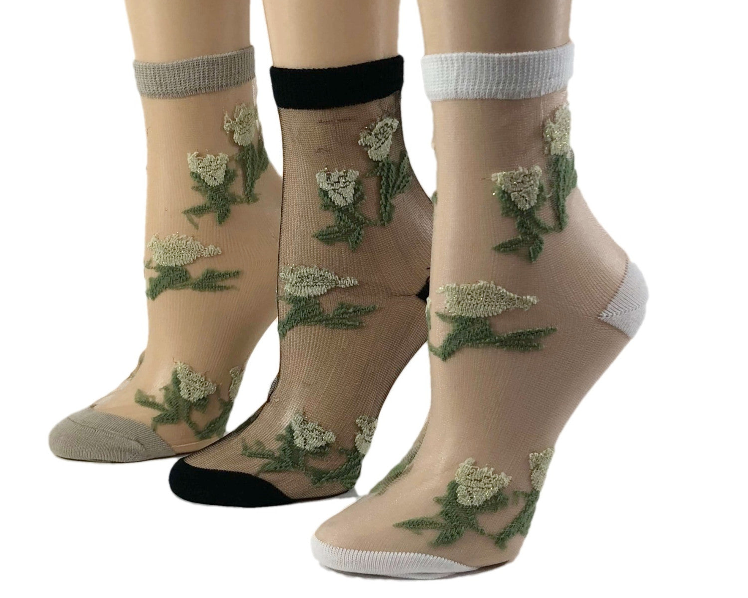 Green Flowers Sheer Socks (Pack of 3 Pairs) - Global Trendz Fashion®