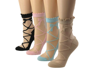 Crisscross Patterned Sheer Socks (Pack of 4 Pairs) - Global Trendz Fashion®