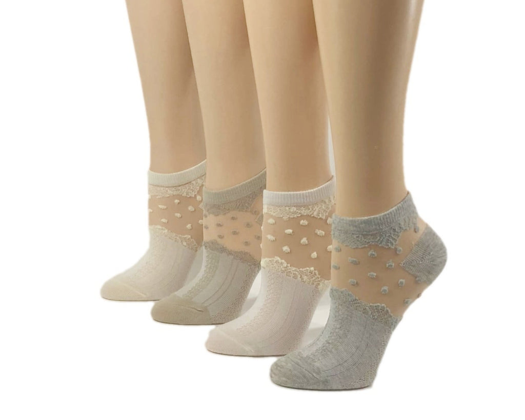 Patterned/Dotted Sheer Socks (Pack of 4 Pairs)-Global Trendz Fashion®