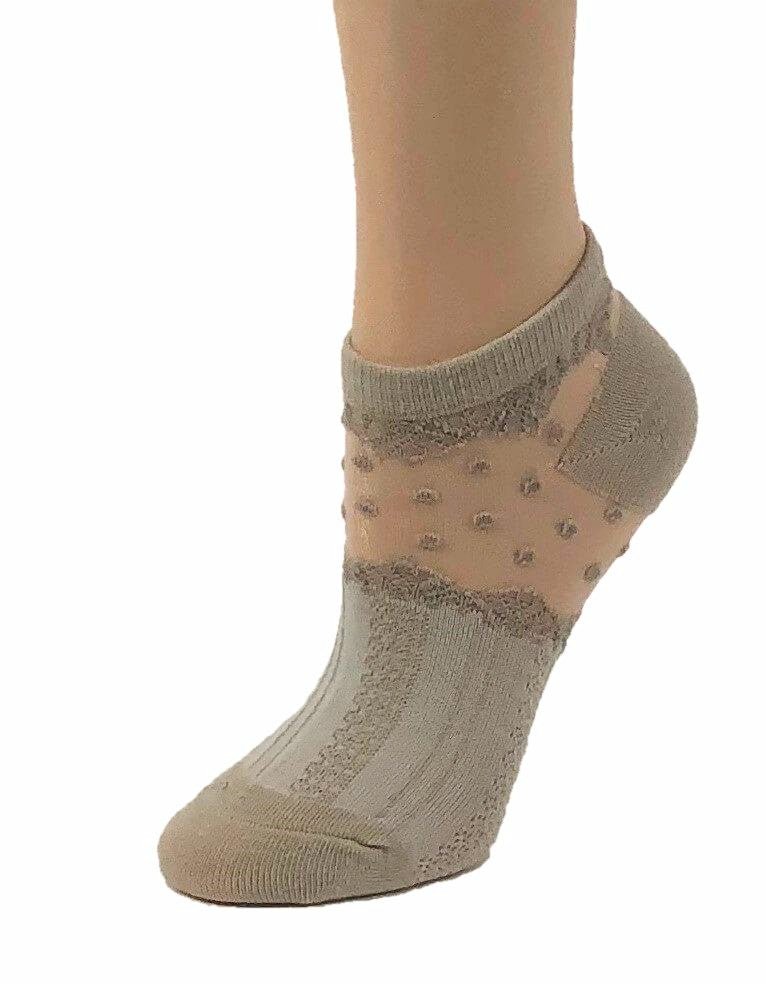 Dazzling Brown Dotted Ankle Sheer Socks - Global Trendz Fashion®