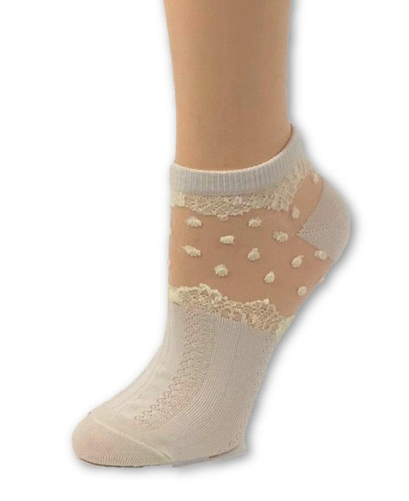 Dazzling White Dotted Ankle Sheer Socks - Global Trendz Fashion®