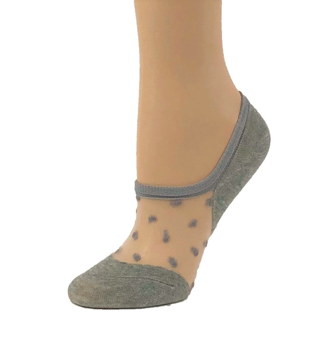Stylish Dark Grey Dotted Ankle Sheer Socks - Global Trendz Fashion®