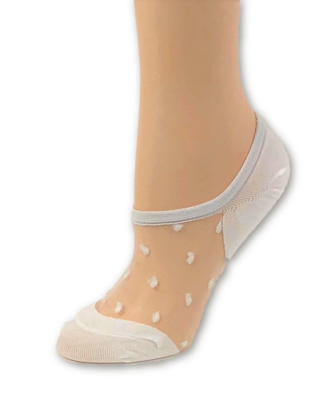 Stylish White Dotted Ankle Sheer Socks - Global Trendz Fashion®