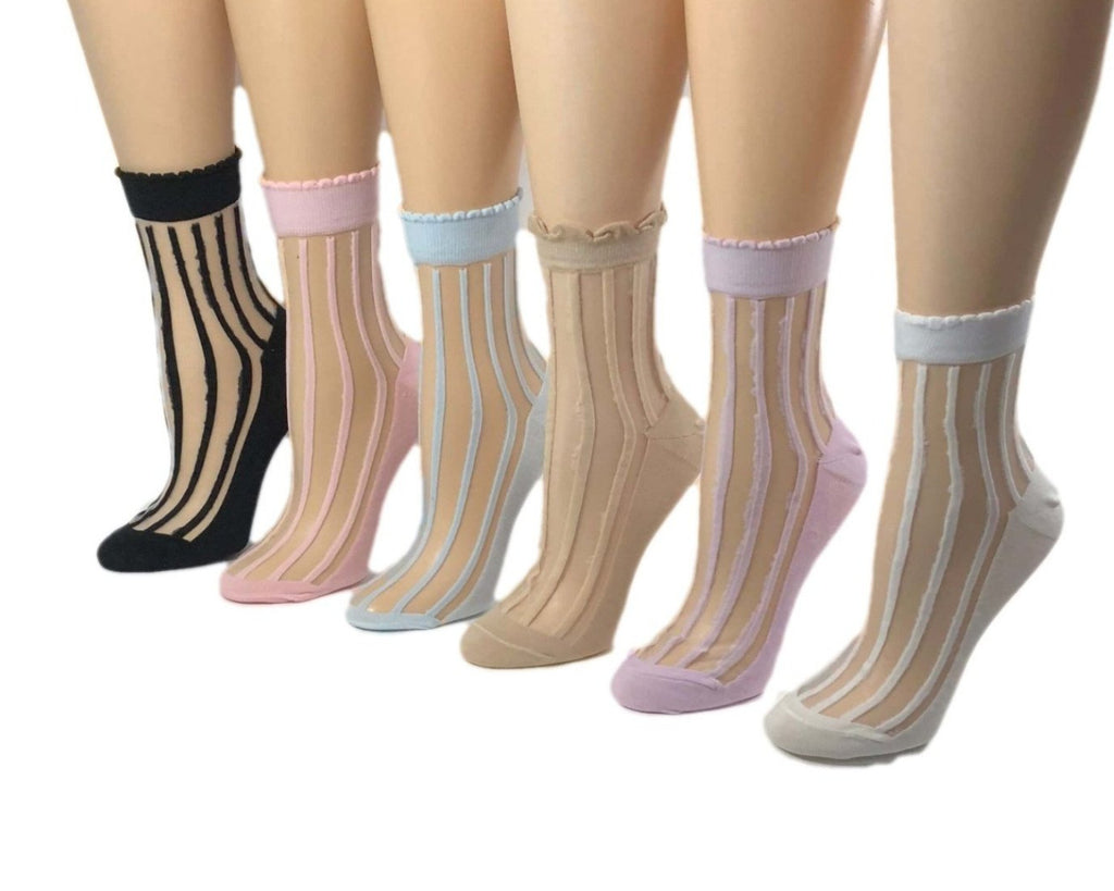 Fully-Stripped Sheer Socks (Pack of 6 Pairs) - Global Trendz Fashion®