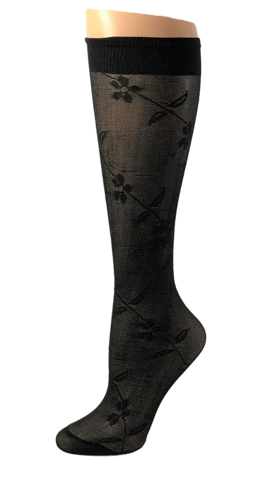 Black Flowers knee high Socks - Global Trendz Fashion®