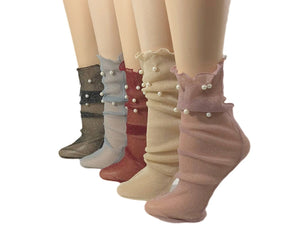 Silky Pearls Sheer Socks (Pack of 5 Pairs) - Global Trendz Fashion®