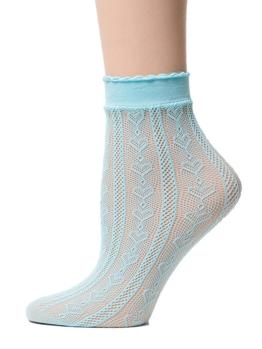 Heart Cool Blue Mesh Socks