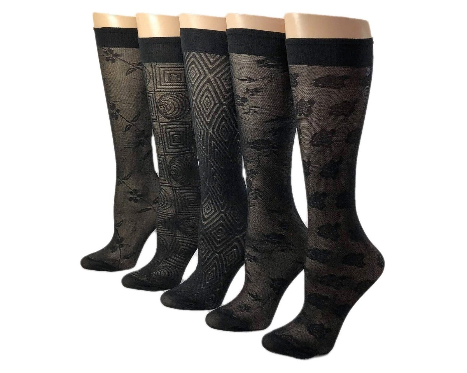 Black Diverse Patterned Sheer Socks (Pack of 5 Pairs) - Global Trendz Fashion®