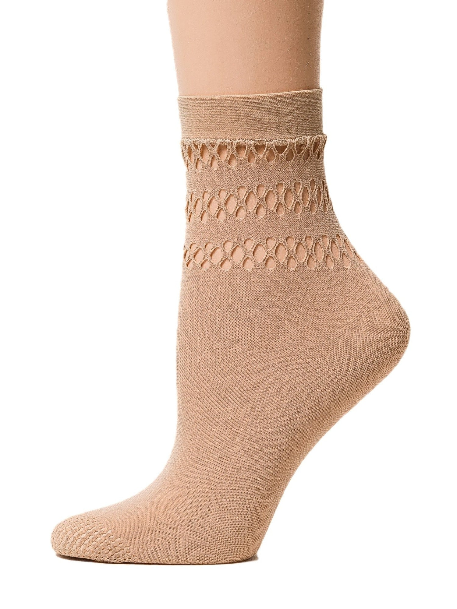 Trendy Beige Mesh Socks - Global Trendz Fashion®