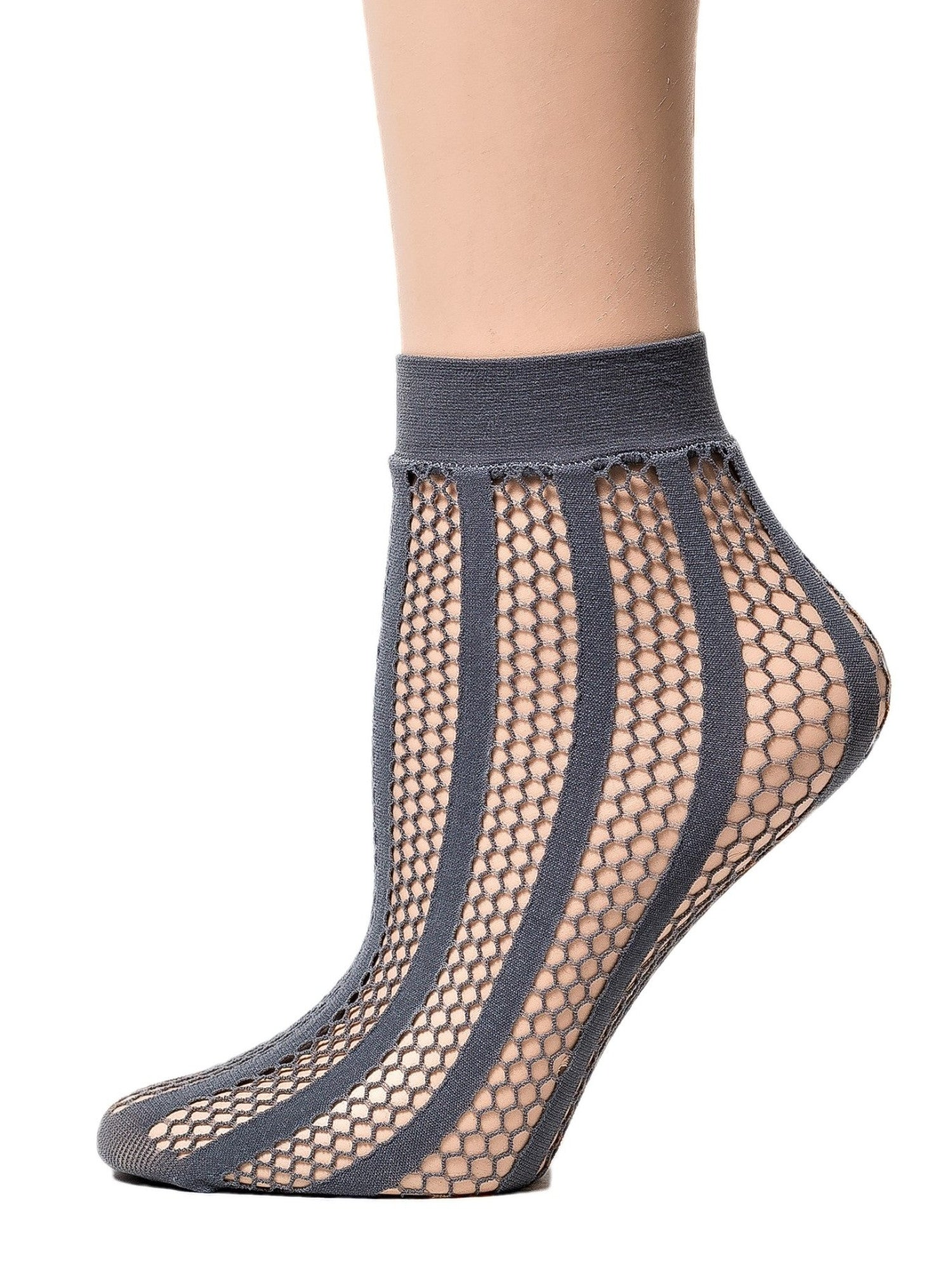 Striped Grey Mesh Socks - Global Trendz Fashion®