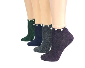 Dull Coloured Pearls Sheer Socks (Pack of 4 Pairs) - Global Trendz Fashion®