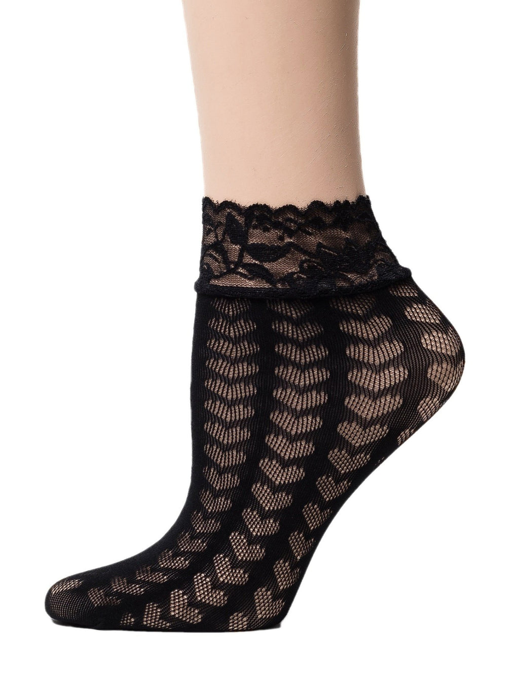 Hearts Black Mesh Socks