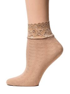 Hearts Biege Mesh Socks - Global Trendz Fashion®