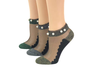 Glittery Pearls Sheer Socks (Pack of 3 Pairs) - Global Trendz Fashion®