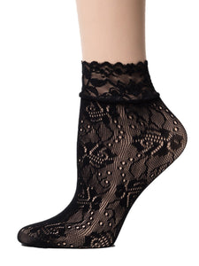 Leaf Black Mesh Socks - Global Trendz Fashion®