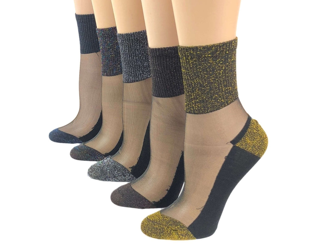 Glittered Sheer Socks (Pack of 5 Pairs) - Global Trendz Fashion®