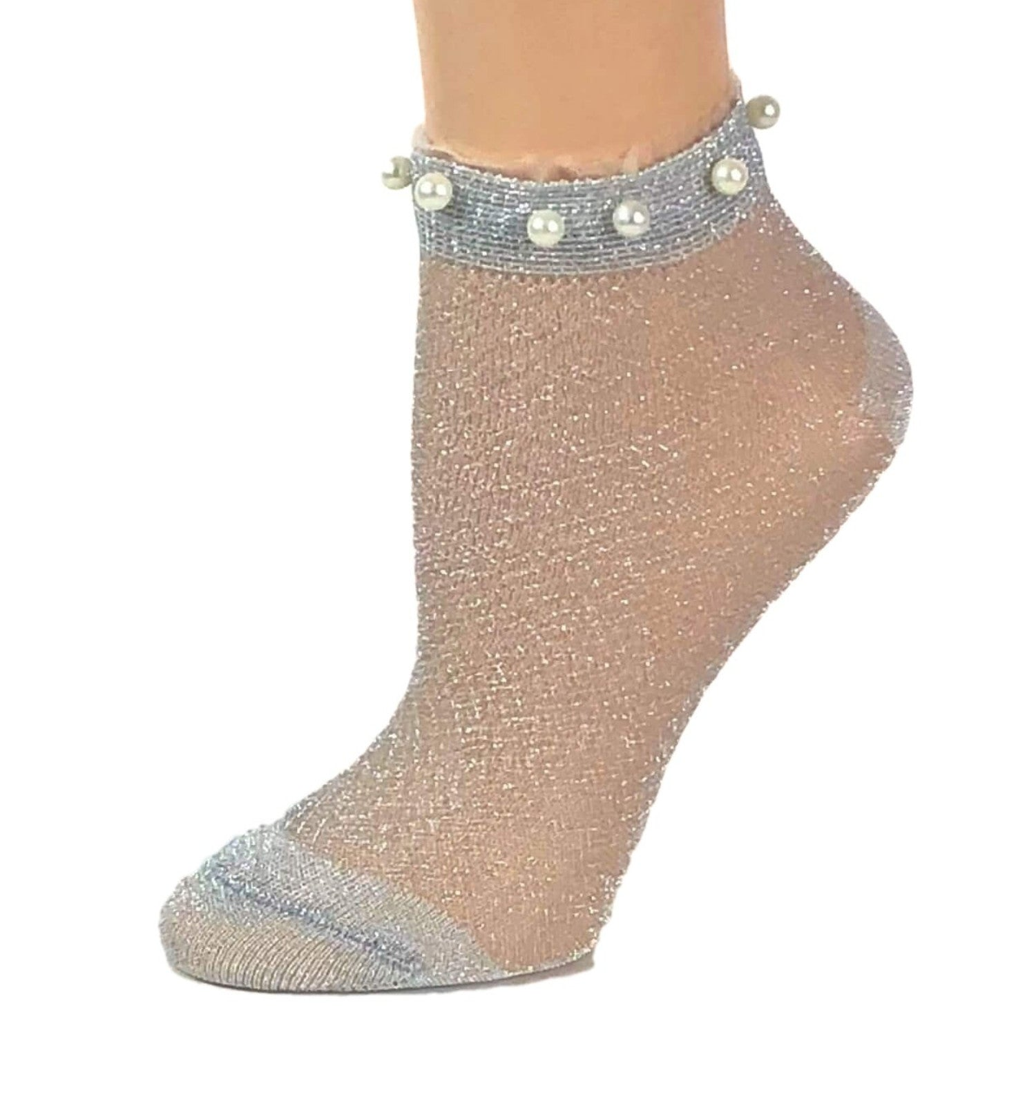 Stunning Pearls Frosted White Glitter Socks