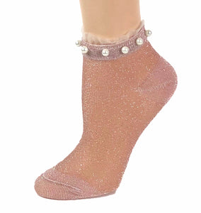 Stunning Pearls Pink Glitter Socks - Global Trendz Fashion®