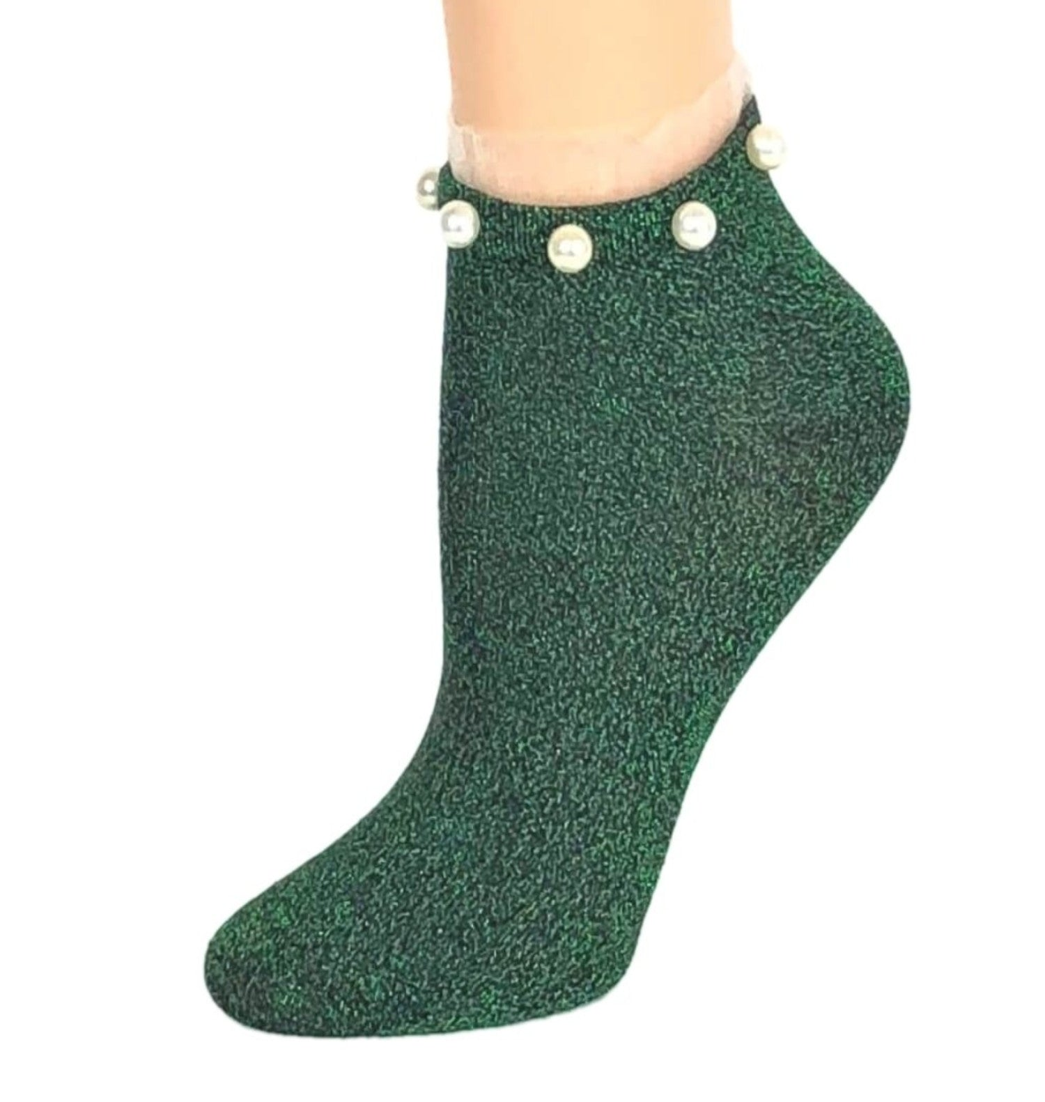 Stunning Pearls Green Glitter Socks - Global Trendz Fashion®
