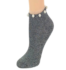 Stunning Pearls Silver Glitter Socks - Global Trendz Fashion®