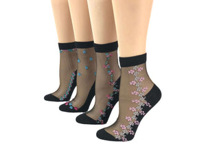 Charming Patterned Flowers Sheer Socks (Pack of 4 Pairs) - Global Trendz Fashion®