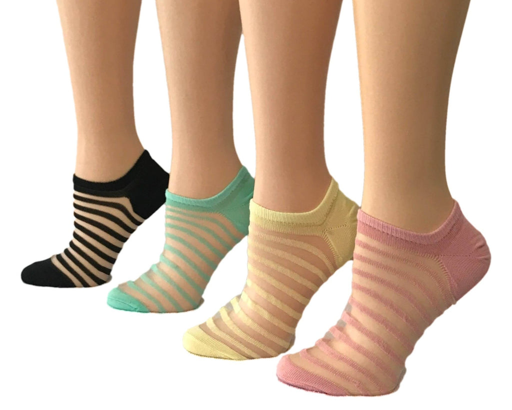 Elegant Striped Sheer Socks (Pack of 4 Pairs) - Global Trendz Fashion®