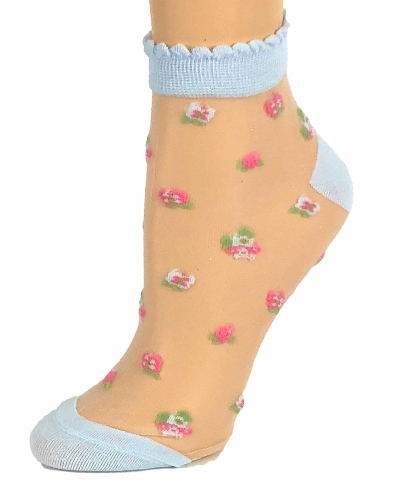 Turquoise Pink/Purple Flowers Ankle Sheer Socks-Global Trendz Fashion®