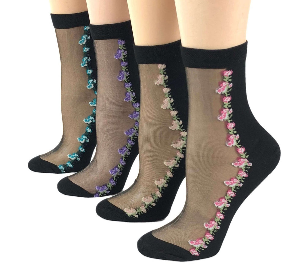 Stunning Mini Flowers Sheer Socks (Pack of 4 Pairs) - Global Trendz Fashion®