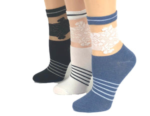 Elegant Stripped Flowers Sheer Socks (Pack of 3 Pairs) - Global Trendz Fashion®