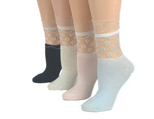 Stylish Flowers Sheer Socks (Pack of 4 Pairs) - Global Trendz Fashion®