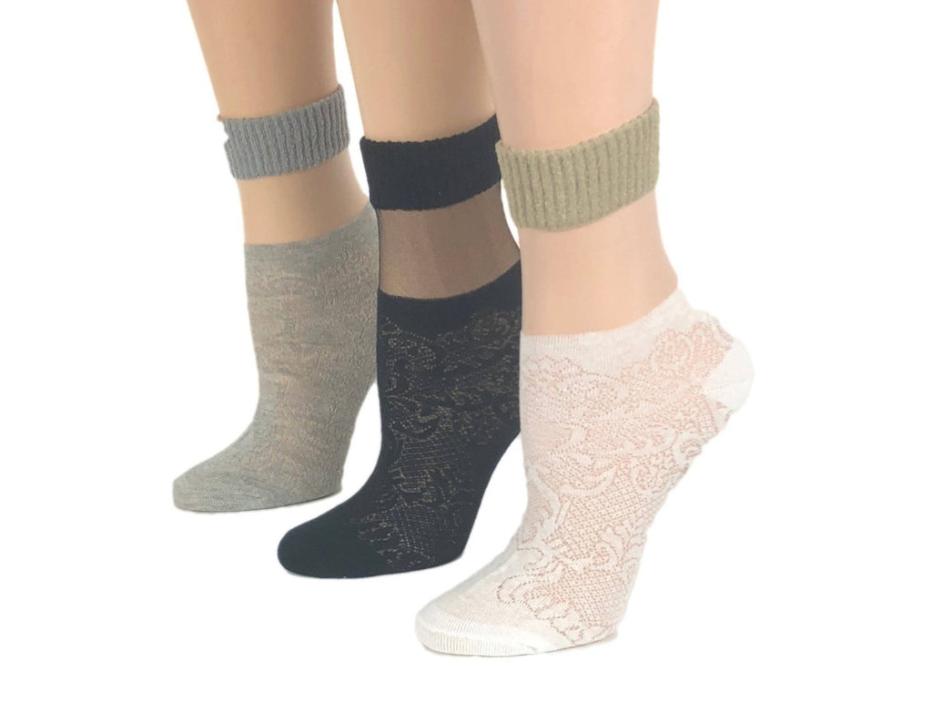 Gorgeous Patterned Sheer Socks (Pack of 3 Pairs) - Global Trendz Fashion®