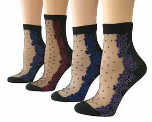 Dotted/Flowers Sheer Socks (Pack of 4 Pairs) - Global Trendz Fashion®