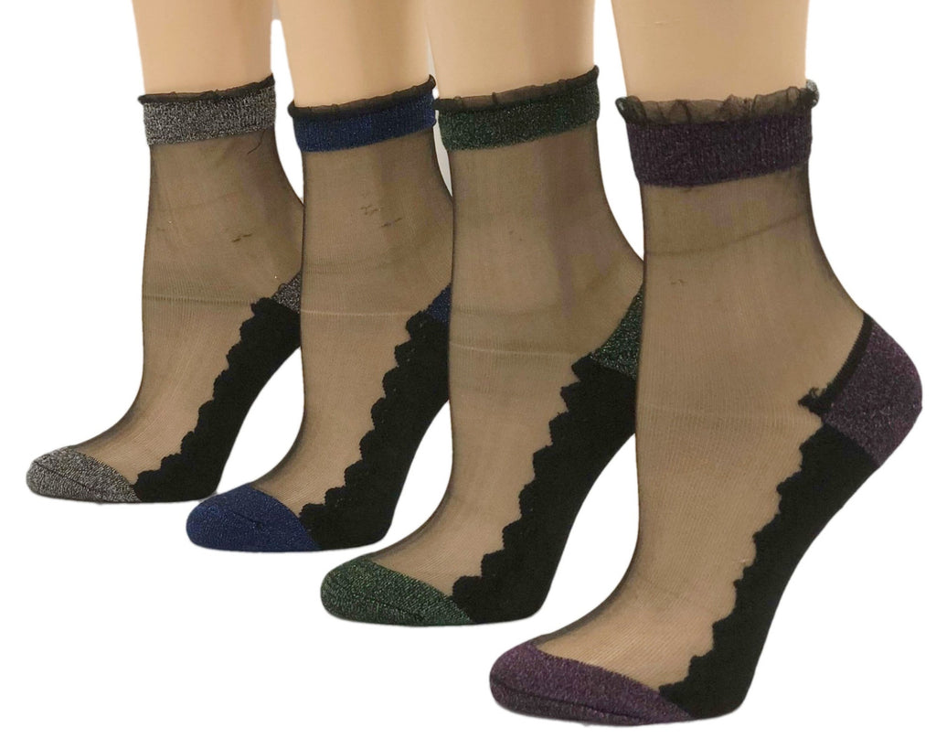 Glittery Edge Patterned Sheer Socks (Pack of 4 Pairs) - Global Trendz Fashion®