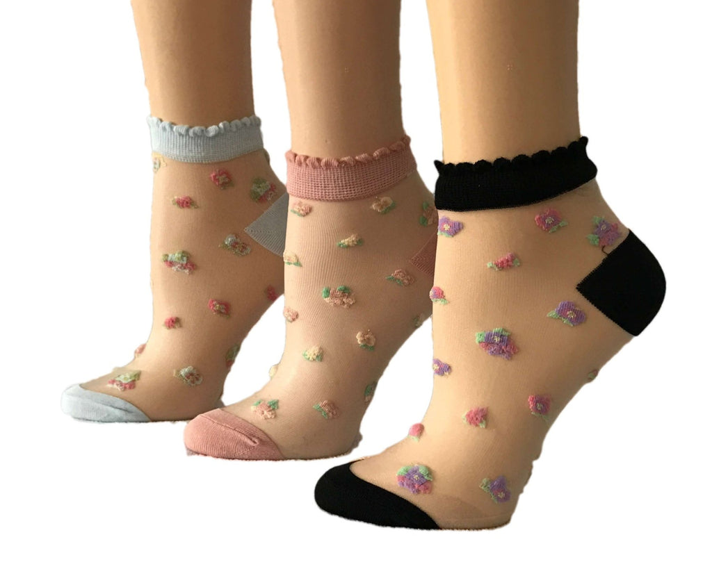 Delicate Mini Flowers Sheer Socks (Pack of 3 Pairs) - Global Trendz Fashion®