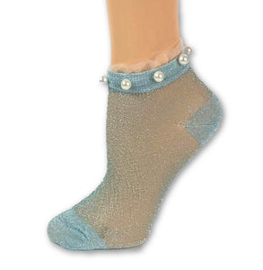 Stunning Pearls Baby Blue Glitter Socks - Global Trendz Fashion®
