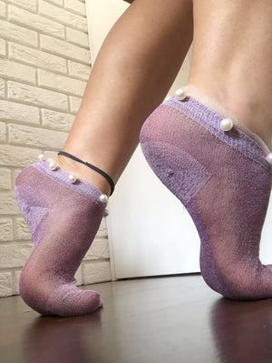 Stunning Pearls Sheer Socks (Pack of 7 Pairs) - Global Trendz Fashion®