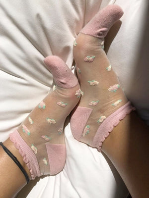 Beautiful Flowers Sheer Socks (Pack of 5 Pairs) - Global Trendz Fashion®