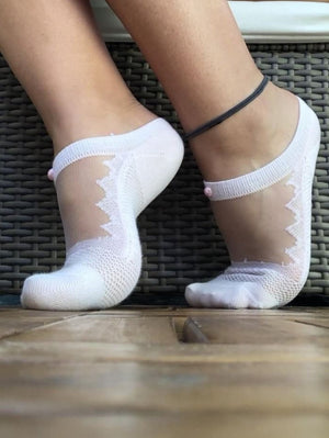 Beautiful White Ankle Sheer Socks - Global Trendz Fashion®