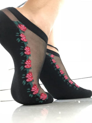 Small Red Roses Ankle Sheer Socks - Global Trendz Fashion®