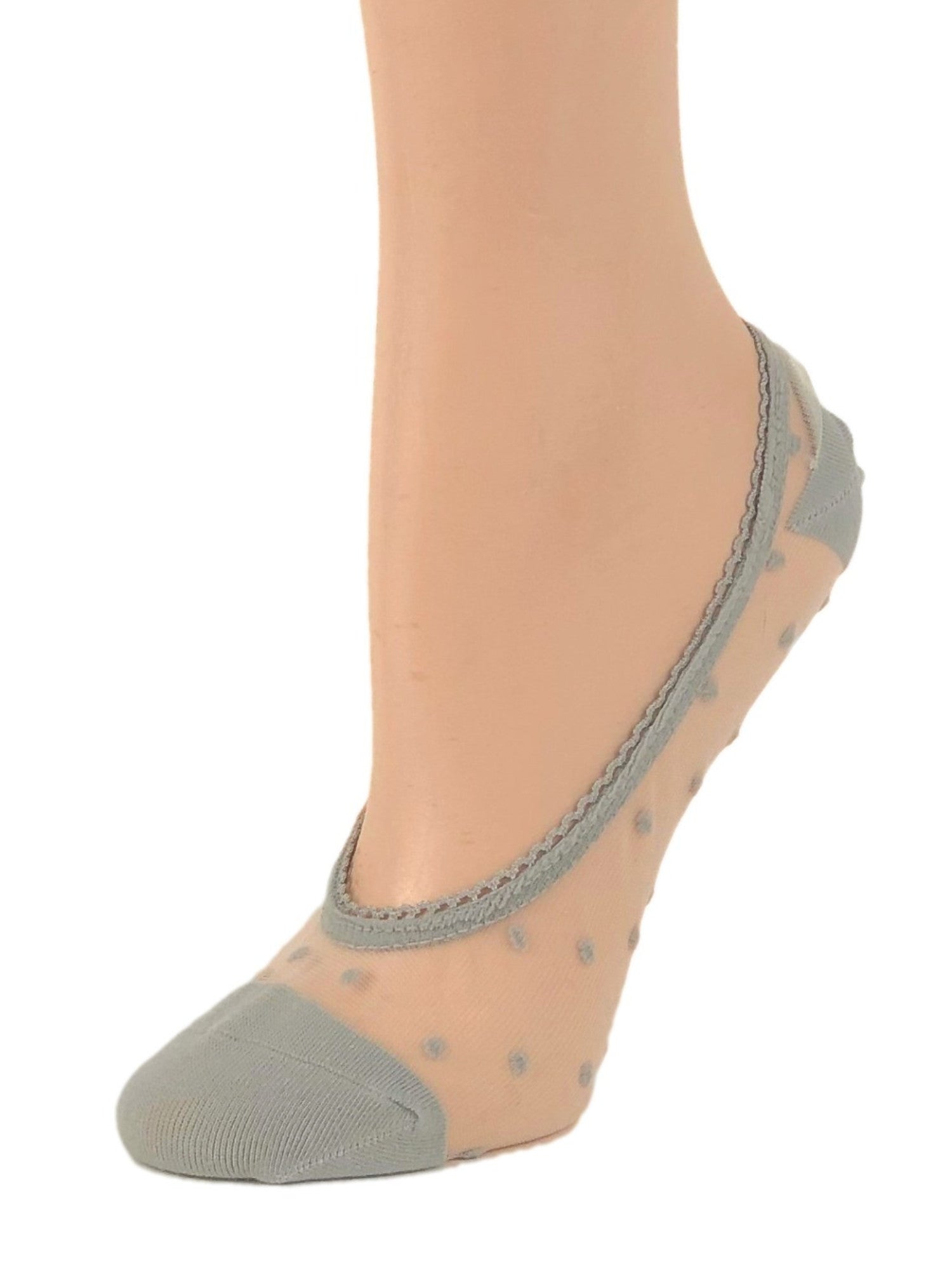 Dotted Grey Ankle Sheer Socks - Global Trendz Fashion®