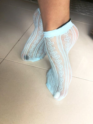 Heart Cool Blue Mesh Socks - Global Trendz Fashion®