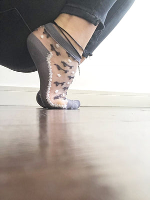 Adorable Grey Puppies Sheer Socks - Global Trendz Fashion®