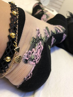 Gorgeous Flower Designed Sheer Socks (Pack of 4 Pairs) - Global Trendz Fashion®