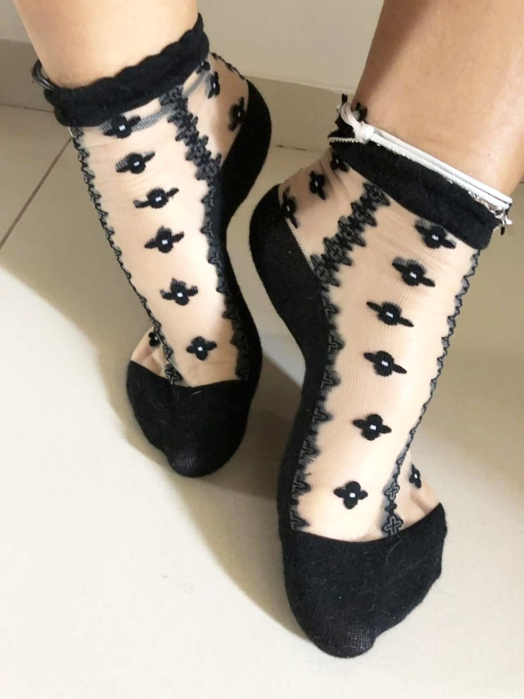 Four Leaf Jet Black Sheer Socks - Global Trendz Fashion®