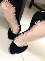 Stylish Pink Flowers Sheer Socks - Global Trendz Fashion®