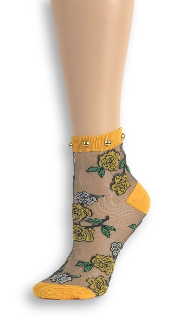 Sharp Orange Roses Custom Sheer Socks with beads - Global Trendz Fashion®